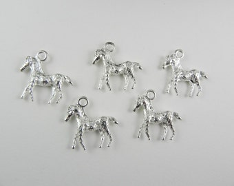 8 Bright Silver Plated Charms - Horse - double sided - textured