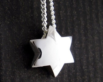 Mens Silver Jewish Star, Star of David Necklace, Chunky Star Pendant with Chain, Yonatan Jewelry