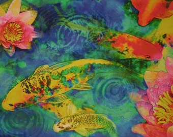 Koi play, 13x20 inches, Original Signed, Koi art, Fine Art photograph, with mixed media, Home decor, Lotus, Turquoise decor, blue