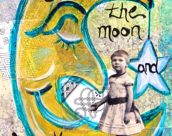 Original Mixed Media Nursery Collage, Matted to 11x14, Man in the Moon, Love ya to the moon and back again