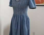 SALE vintage 1990s blue denim smocked babydoll dress sz S-M