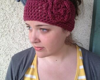 Crochet PATTERN Christy Headwarmer Wide Headband /  Ear Warmer with Large Flower (preemie/18 inch doll through adult sizes)