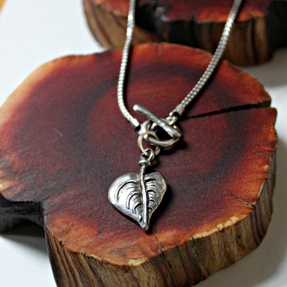 leaf necklace silver toggle Bodhi