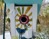 Love Birds  - Recycled Soda Pop Cans and Wood Birdhouse