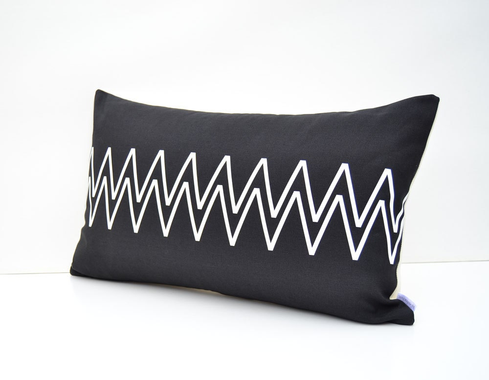 black and white cotton lumbar pillow cover with by paleolochic. Black Bedroom Furniture Sets. Home Design Ideas
