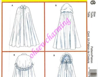 Medieval Renaissance Cape Sewing Pattern McCalls 4698 Sizes Small and Medium