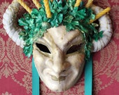 Vertumnus - Leather Green man Fertility Mask with beeswax candles - Ready to ship