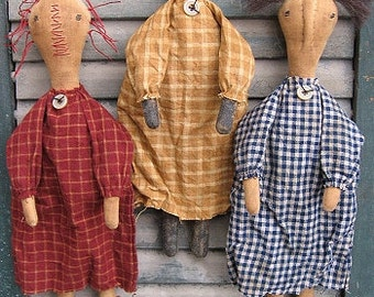 Prim Sisters EPATTERN-primitive raggedy, black cloth doll country craft digital download sewing pattern- PDF - 1.99