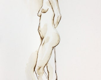 Original Ink Nude, Original Nude Drawing, Ink Figure Drawing, Looking Back, Walnut Ink on Paper, Standing Female Nude Figure,
