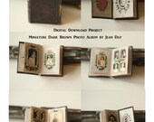 Dark Brown Photo Album Dollhouse scale miniature, Victorian Printable 1:12 scale book instant download Project DH008