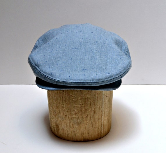 Men's Hat - Driving Cap in Vintage Sky Blue Wool - MADE TO ORDER - 3 Weeks to Ship