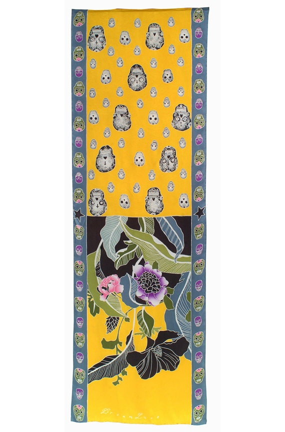 Luxury floral and Day of the Dead skulls hand painted silk scarf