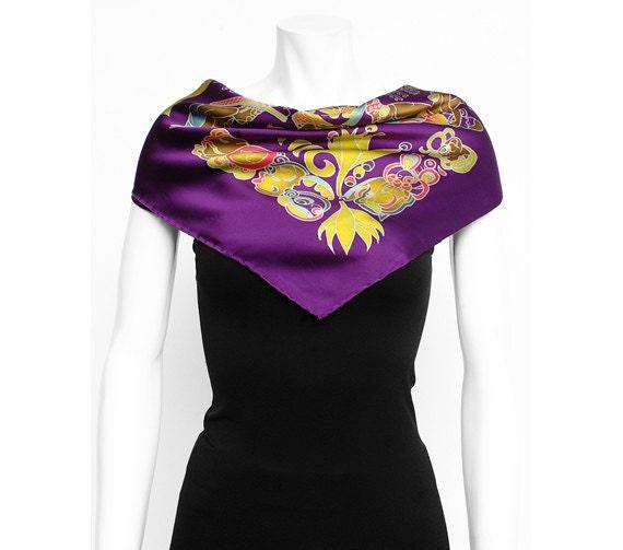 Silk Scarf Handpainted, Aztec Scarf, Batik scarf, Scarf hand made, Purple scarf, Tribal scarf, Unique scarf, Silk neck scarf, Square scarf