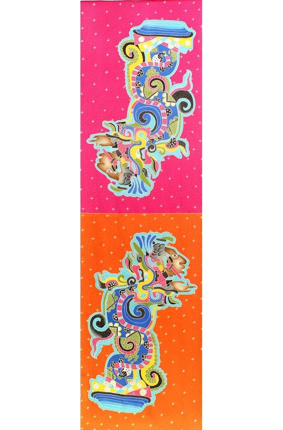 Silk Scarf Handpainted, Mayan art, Scarf hand made, Orange, Red scarf, Batik scarf, Tribal art, Unique scarf, Elegant scarf, Luxury scarf