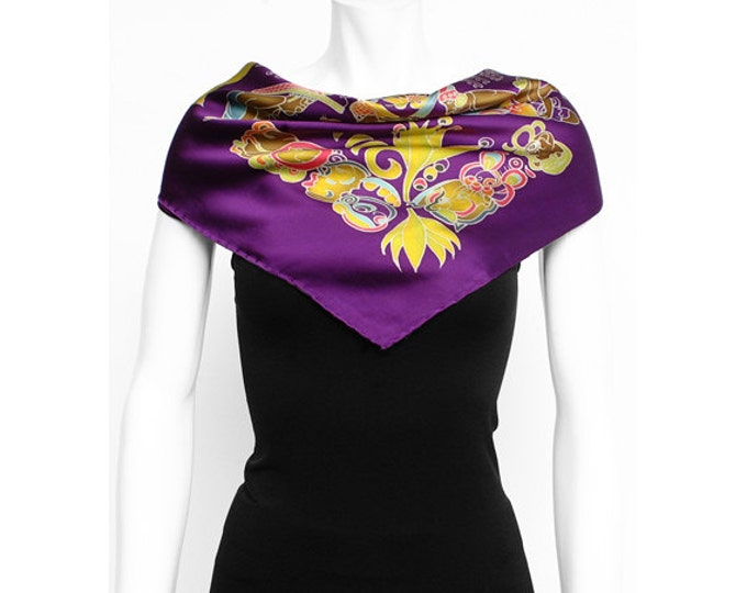 Silk Scarf Handpainted, Aztec Scarf, Batik scarf, Scarf hand made, Purple scarf, Tribal scarf, Unique scarf, Silk neck scarf, Square scarf
