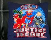 Justice League Superhero Recycled Tshirt Pillow Handmade Batman Superman Flash Green Lantern