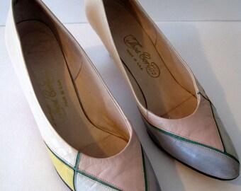 Vintage Thos Cort Ltd Pastel Color Block Shoes Size 8 N