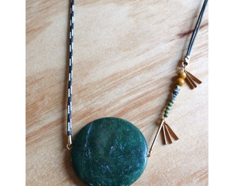 Large asymmetrical Amazonite medallion necklace with leather and nylon cord