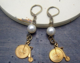 old time tricycle charm earrings with a white pearl