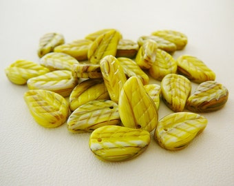 Czech Glass Beads Leaf Leaves Yellow Green, Sage Brown Streaks, Foliage beading supplies