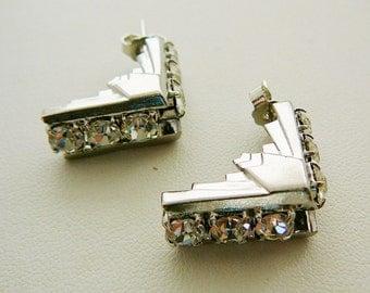 Vintage .. Rhinestone Earrings, Czech Stud Clear Pierced Chevron Art Deco