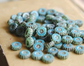 Coastal Waters - Czech Glass Beads, Milky Opal Blue, Picasso, Carved Coins 13x5mm - Pc 6