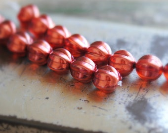 Pomegranate Jam - Czech Glass Beads, Matte Cherry Red, Pearl Coat, Melon Rounds 14mm - Pc 4