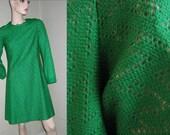 60s Green Vintage Knit Lace Crochet Dress Mad Men Irish Free Shipping