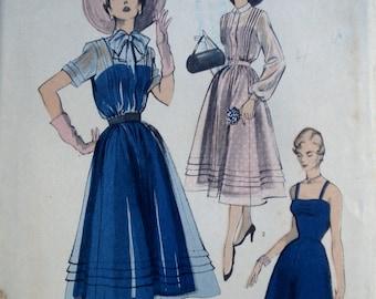 Vintage 1950s Dress & Slip Pattern Advance 5552 Bust 30