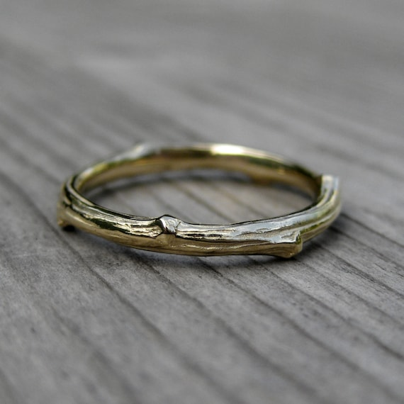 Twig Wedding Band: Yellow Gold; 2mm wide; 14k or 18k