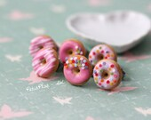 Pink Donut Earrings - Sprinkles on Strawberry Frosting