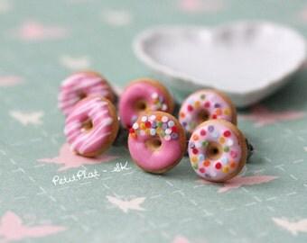 Pink Donut Earrings - Sprinkles on Strawberry Frosting