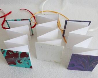 Mini Accordion Book or Card / Marbled Purple / Folding Blank Card by PrairiePeasant