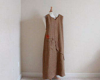 custom plus size arty neckline  linen dress with pleat flower