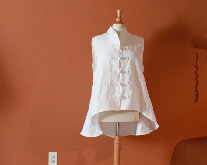size XS to 6XL heavy linen wavy end vest