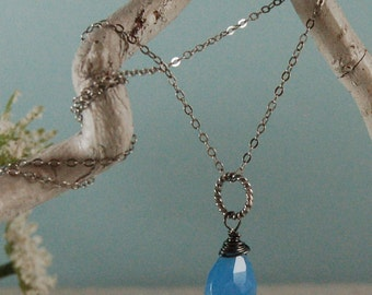 Blue Chalcedony Necklace Oxidized Sterling Silver Chain