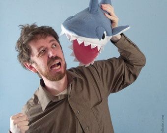Fleece Shark Hat - Blue-Gray