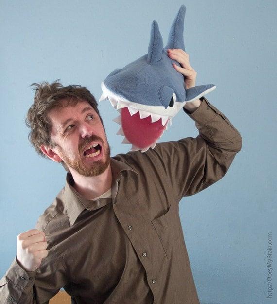 Fleece Shark Hat - Blue-Gray