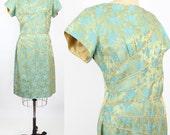curved dart hourglass dress | vintage sateen damask sheath | floral cocktail dress | L