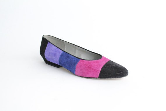 sz 5.5 vintage COLORBLOCK leather flats / 35.5