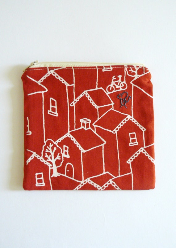 zipper pouch, purse. red bird and mouse embroidery in navy blue with white houses on cherry sustainable cotton designed fabric.