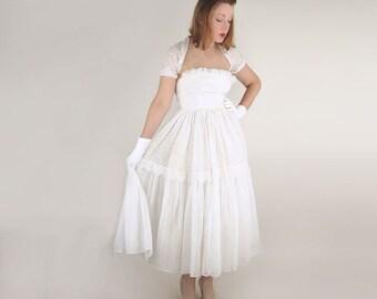 50s White Cotton Organdy Eyelet Strapless Dress and Shrug XXS