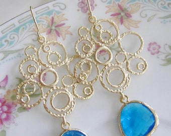 Royal Blue Earrings, Large Gold Chandelier Earrings, Gold Circles, Blue Glass, Bridesmaid Earrings, Wedding Jewelry