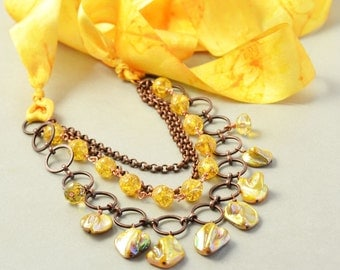 Yellow Summer Necklace, Multi Strand, Shell Vintage Glass Necklace, OOAK