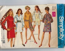 1960s Vintage Dress Pattern Simplicity 8333 A Line Dress Mod Beach Coverup Size 12 Bust 32 1969
