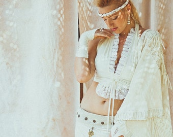 CARMINE BRA TOP - Organic Burlesque tribal belly dance faery wedding Bride Burning Man Gypsy - Off white cream