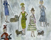 Blonde haired women in absurd little hats walking miniature dogs.  Limited edition print by Vivienne Strauss.