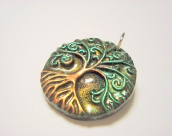 Magic Woods Yggdrasil Tree of Life With Roots Handmade Polymer Clay Pendant or Focal Bead