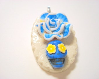 Blue, Yellow, and White Rose Lolita Day of the Dead Sugar Skull Pendant
