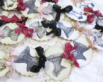 Bridal Shower Lingerie Party Banner Vintage Corset w/ribbons - Party Garland - Choose Ribbons - Small Medium Large - Bachelorette Party